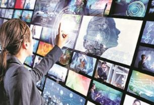 A Woman Touching Towards The Digital Multimedia Television video streaming - Advanced Technologies In Entertainment Industry Concept.